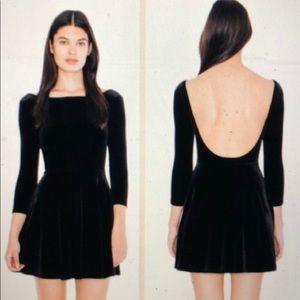 American apparel low back black velvet dress